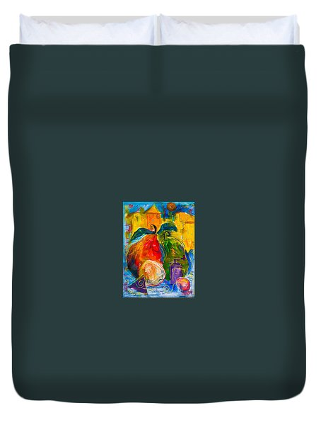 Red And Green Pears Duvet Cover