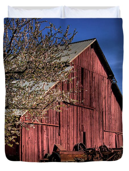 Duvet Cover featuring the photograph Red Barn by Jim and Emily Bush