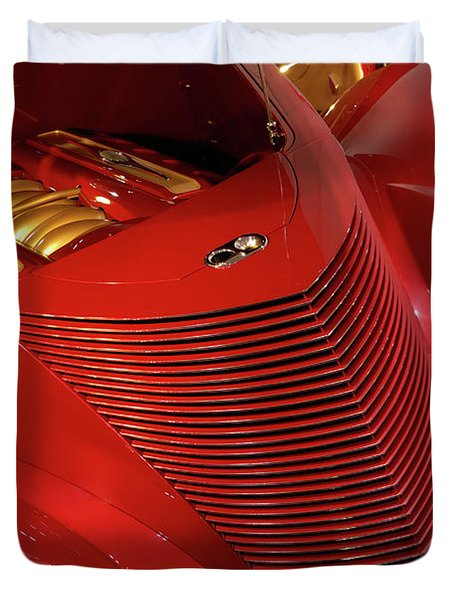 Red Classic Car Details Duvet Cover by Oleksiy Maksymenko