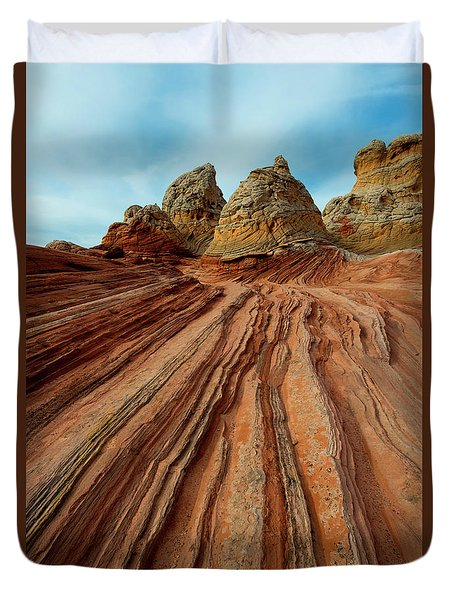 Duvet Cover featuring the photograph Red Desert Lines by Mike Dawson
