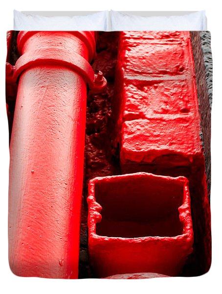 Red Drainpipe Duvet Cover