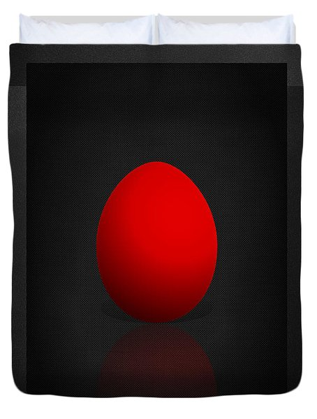 Red Egg On Black Canvas  Duvet Cover