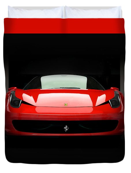 Red Ferrari 458 Duvet Cover