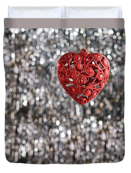 Duvet Cover featuring the photograph Red Heart by Ulrich Schade