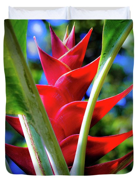 Red Heliconia Hawaii Duvet Cover