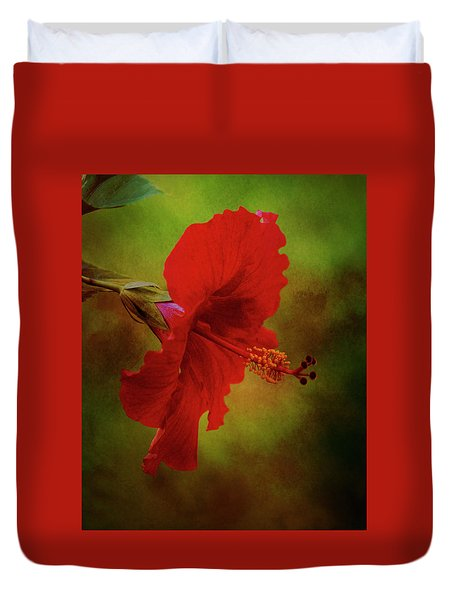 Red Hibiscus Art Duvet Cover