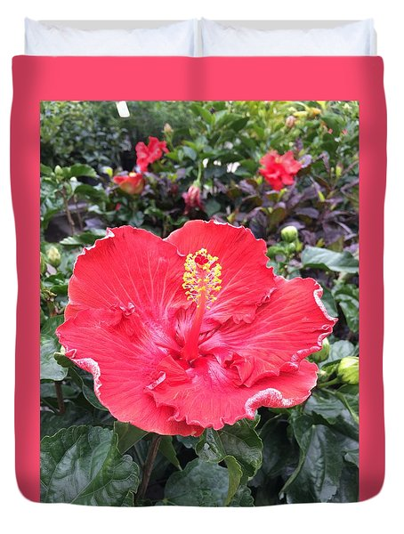 Red Hibiscus Duvet Cover by Kay Gilley