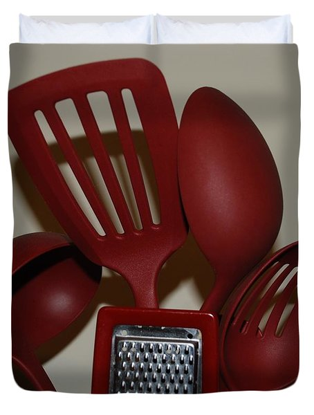 Red Kitchen Utencils Duvet Cover by Rob Hans