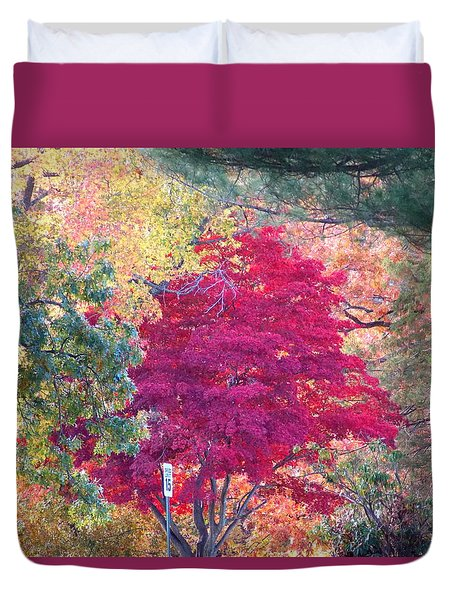 Red Leaf Tree Duvet Cover