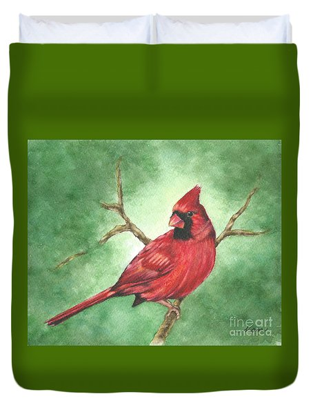 Red Male Cardinal Duvet Cover by Nan Wright