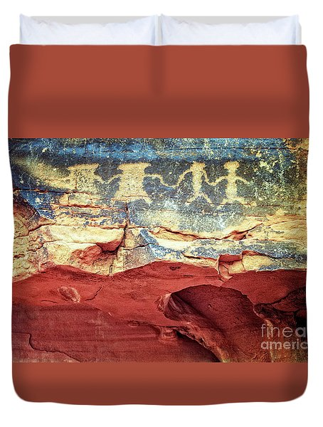 Red Rock Canyon Petroglyphs Duvet Cover