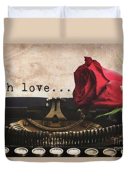 Red Rose On Typewriter Duvet Cover