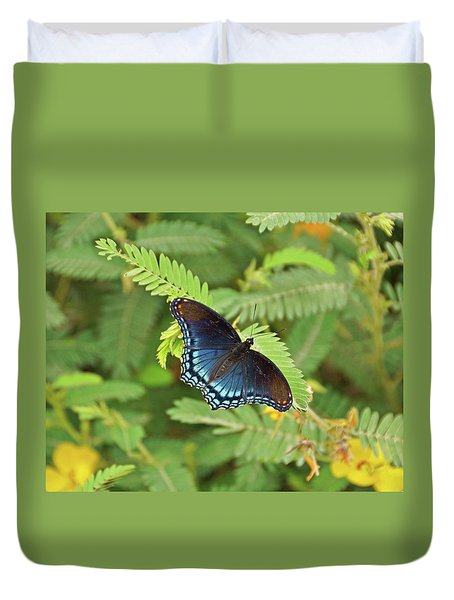 Duvet Cover featuring the photograph Red Spotted Purple Butterfly by Sandy Keeton