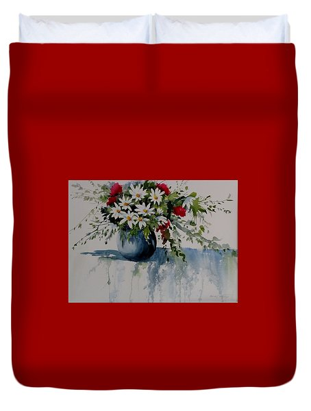 Red White And Blue Bouquet Duvet Cover