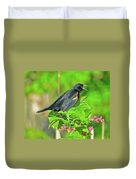 Duvet Cover featuring the photograph Red-winged Blackbird by Jack Moskovita