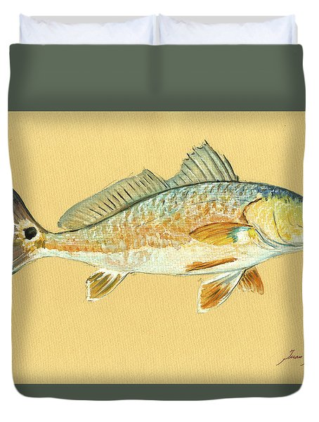 Redfish Painting Duvet Cover by Juan  Bosco