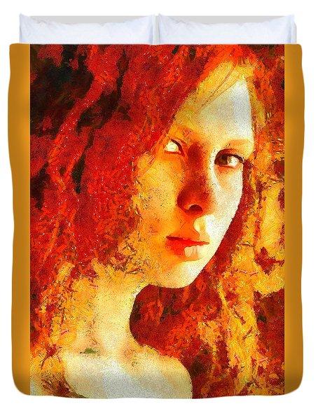 Duvet Cover featuring the digital art Redhead by Gun Legler