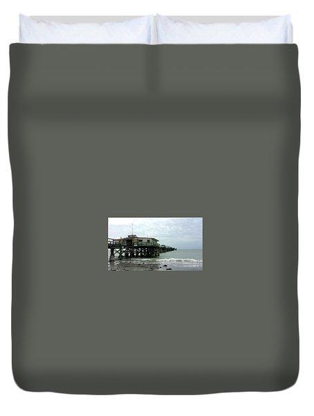 Redington Beach, Florida Fishing Pier Duvet Cover by Scott D Van Osdol