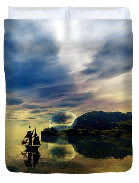 Duvet Cover featuring the digital art Reflection Bay by Sandra Bauser Digital Art