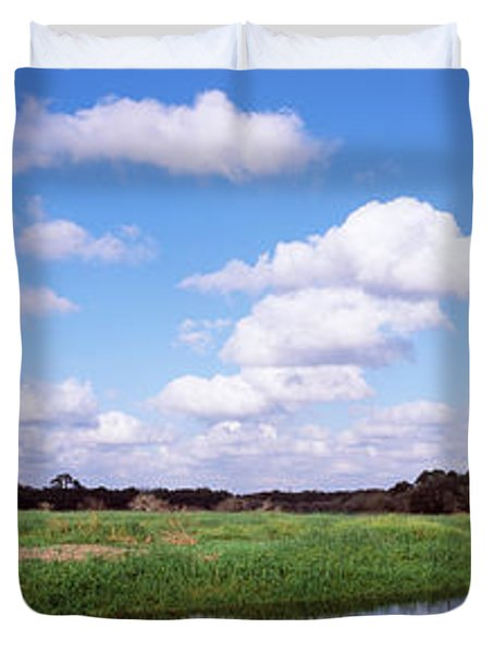Reflection Of Clouds In A River, Myakka Duvet Cover by Panoramic Images