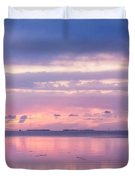 Reflections At Sunset In Key Largo Duvet Cover