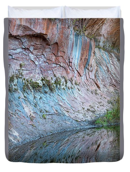 Duvet Cover featuring the photograph Reflections In Oak Creek Canyon by Sandra Bronstein