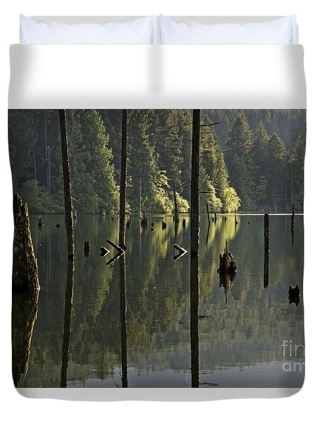 Duvet Cover featuring the photograph Reflections by Inge Riis McDonald