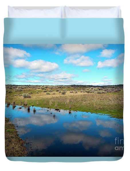 Duvet Cover featuring the photograph Reflections Of Spring by Mike Dawson