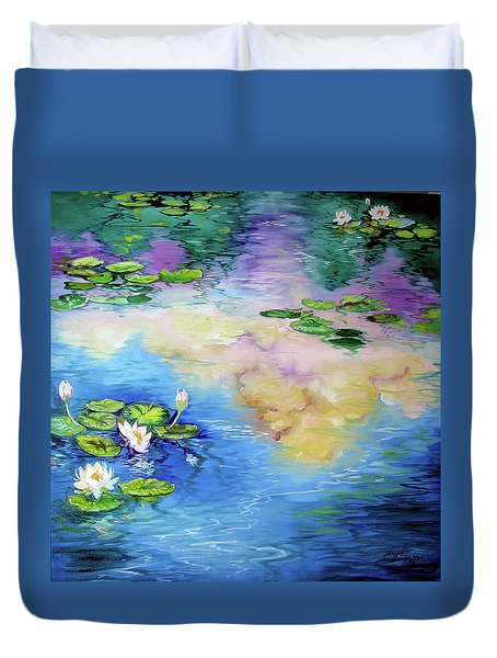 Reflections On A Waterlily Pond Duvet Cover