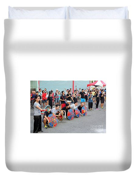 Duvet Cover featuring the photograph Religious Martial Arts Performance In Taiwan by Yali Shi
