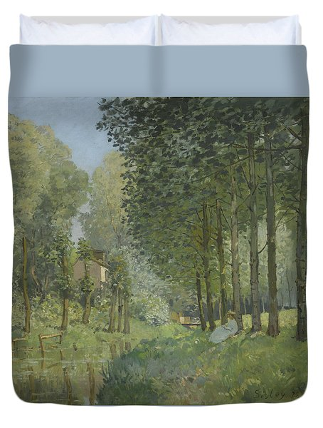 Rest Along The Stream  Duvet Cover by Alfred Sisley