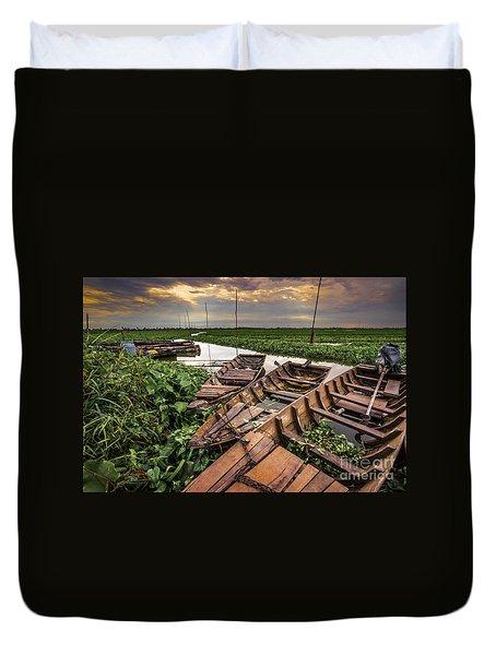 Rest Of Boat Duvet Cover by Arik S Mintorogo