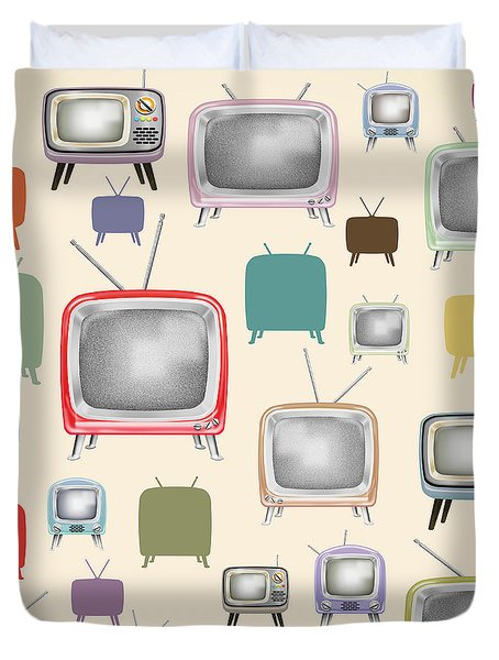 retro TV pattern  Duvet Cover