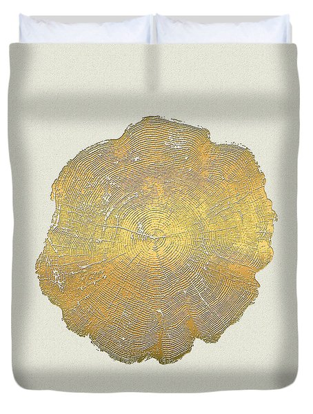 Rings Of A Tree Trunk Cross-section In Gold On Linen  Duvet Cover
