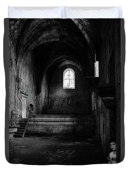 Duvet Cover featuring the photograph Rioseco Abandoned Abbey Nave Bw by RicardMN Photography