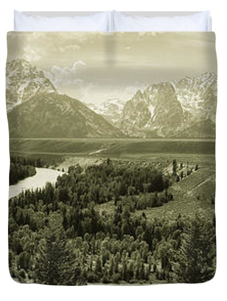 River Flowing Through A Landscape Duvet Cover
