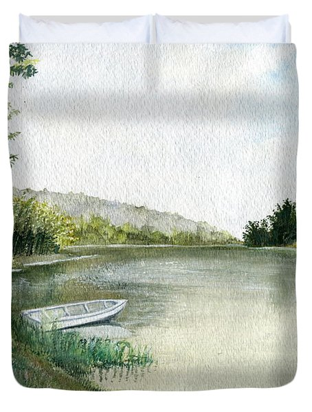 Duvet Cover featuring the painting River Light by Melly Terpening