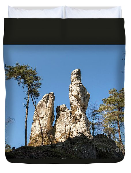 Duvet Cover featuring the photograph Rock Formations In The Bohemian Paradise Geopark by Michal Boubin