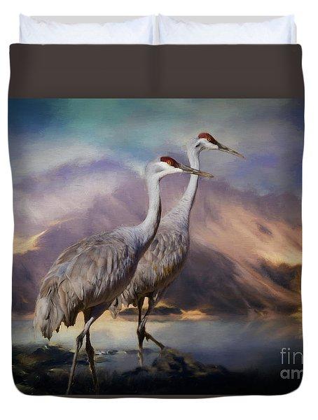 Rocky Mountain Sandhill Cranes Duvet Cover