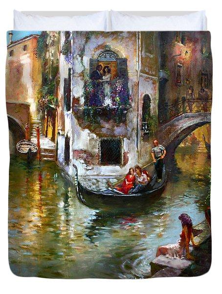 Romance In Venice Duvet Cover
