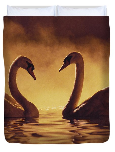 Romantic African Swans Duvet Cover