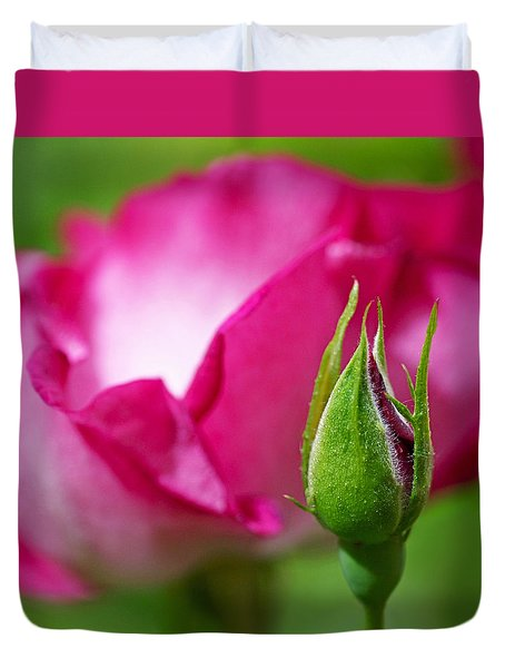 Budding Rose Duvet Cover by Rona Black