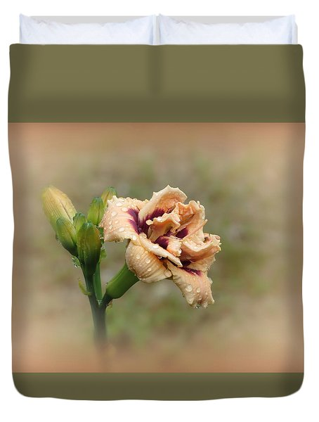 Roswitha With Vignette - Daylily Duvet Cover by MTBobbins Photography