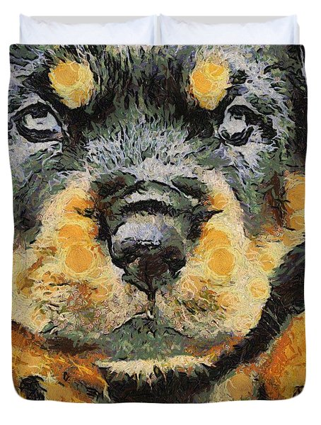 Rottweiler Puppy Portrait Duvet Cover by Tracey Harrington-Simpson