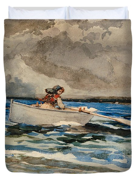 Rowing At Prouts Neck Duvet Cover by Winslow Homer