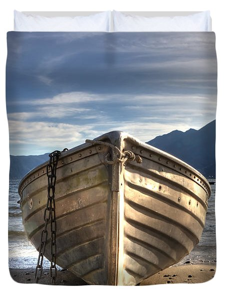 Rowing Boat On Lake Maggiore Duvet Cover by Joana Kruse