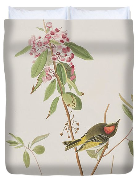 Ruby Crowned Wren Duvet Cover