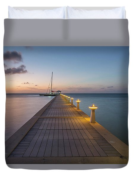 Duvet Cover featuring the photograph Rum Point Pier At Sunset by Adam Romanowicz