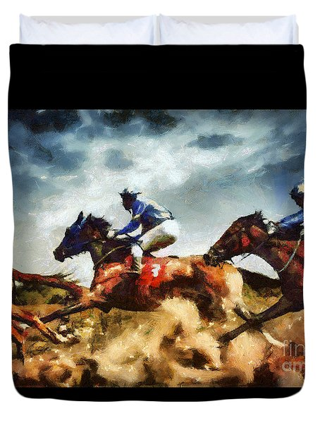 Duvet Cover featuring the painting Running Horses Competition Jockeys In Horse Race by Dimitar Hristov