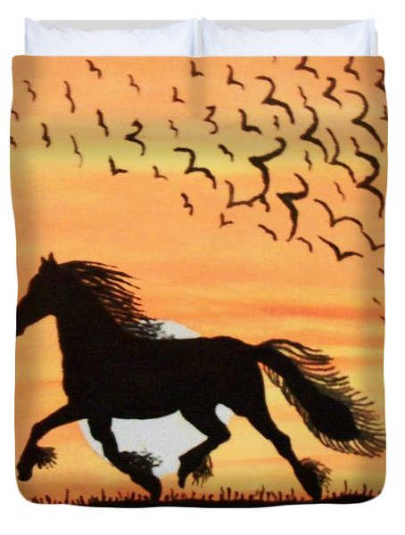 Running In The Wind Duvet Cover by Connie Valasco